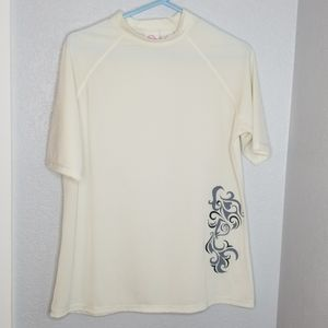 Kanu ivory silver short sleeve spf swim shirt